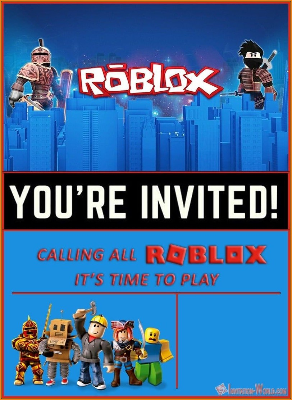 Free Roblox Birthday Party Invitations