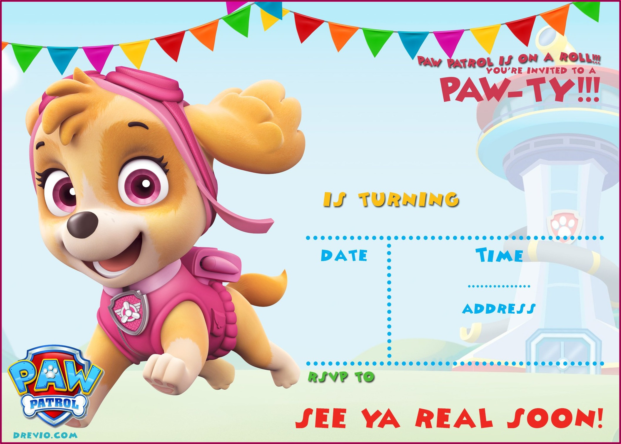 Free Skye Paw Patrol Birthday Invitations