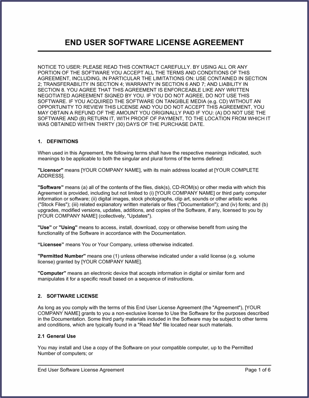 Free Software End User License Agreement Template