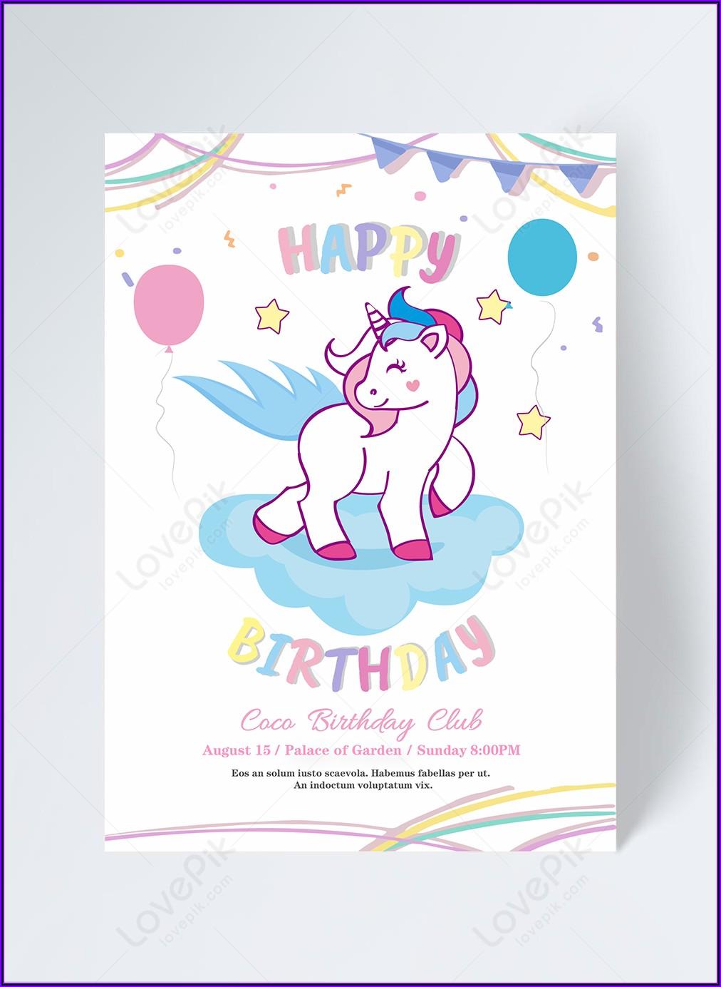 Free Unicorn Birthday Invitation Download