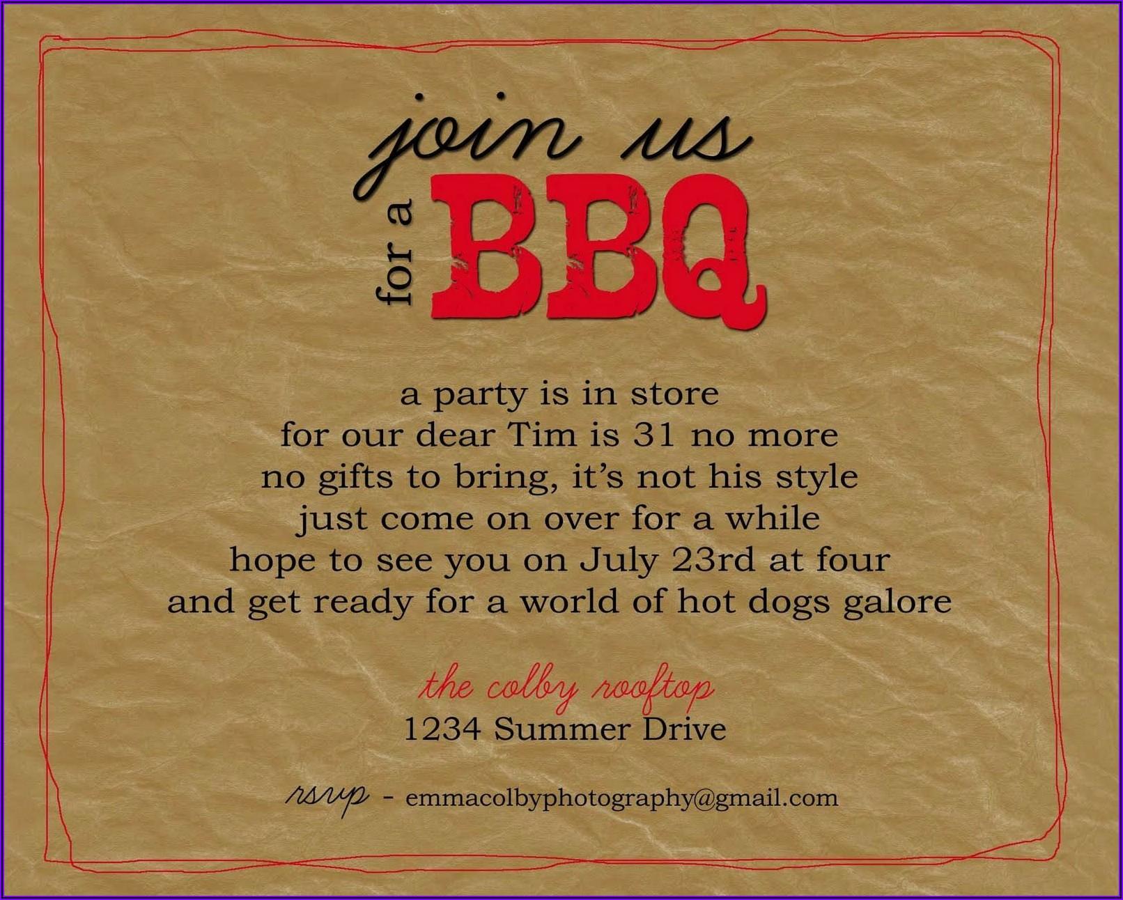 Funny Bbq Party Invitation Wording