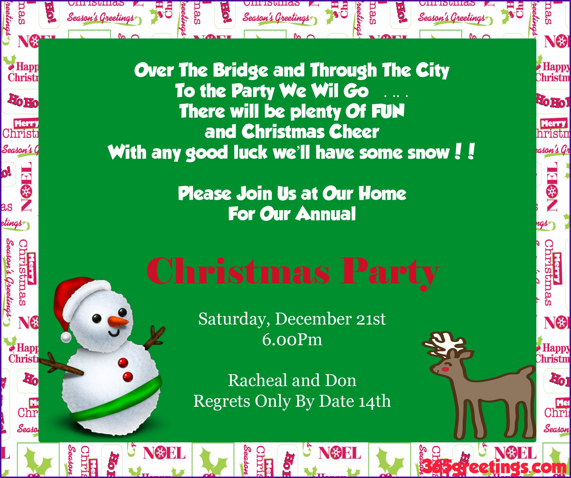 Funny Christmas Lunch Invitation Wording