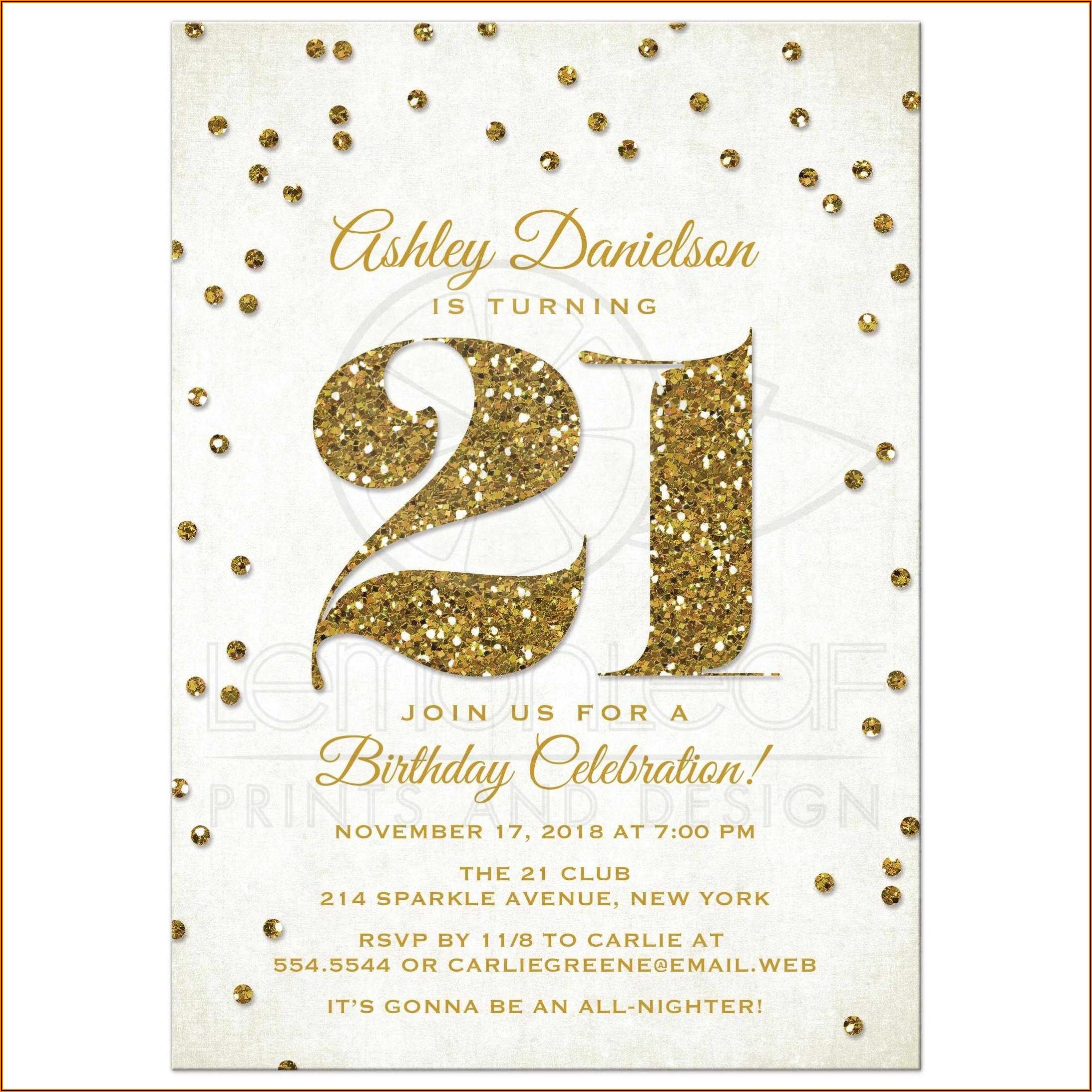 Gold Birthday Party Invitations