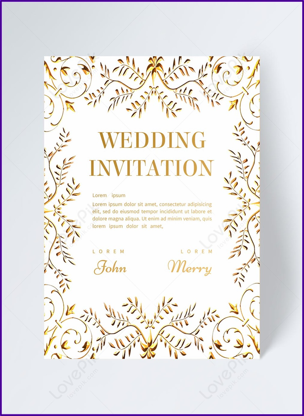 Golden Floral Wedding Invitation Template Free