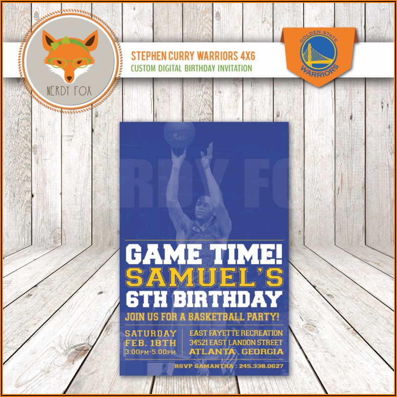 Golden State Warriors Birthday Invitations