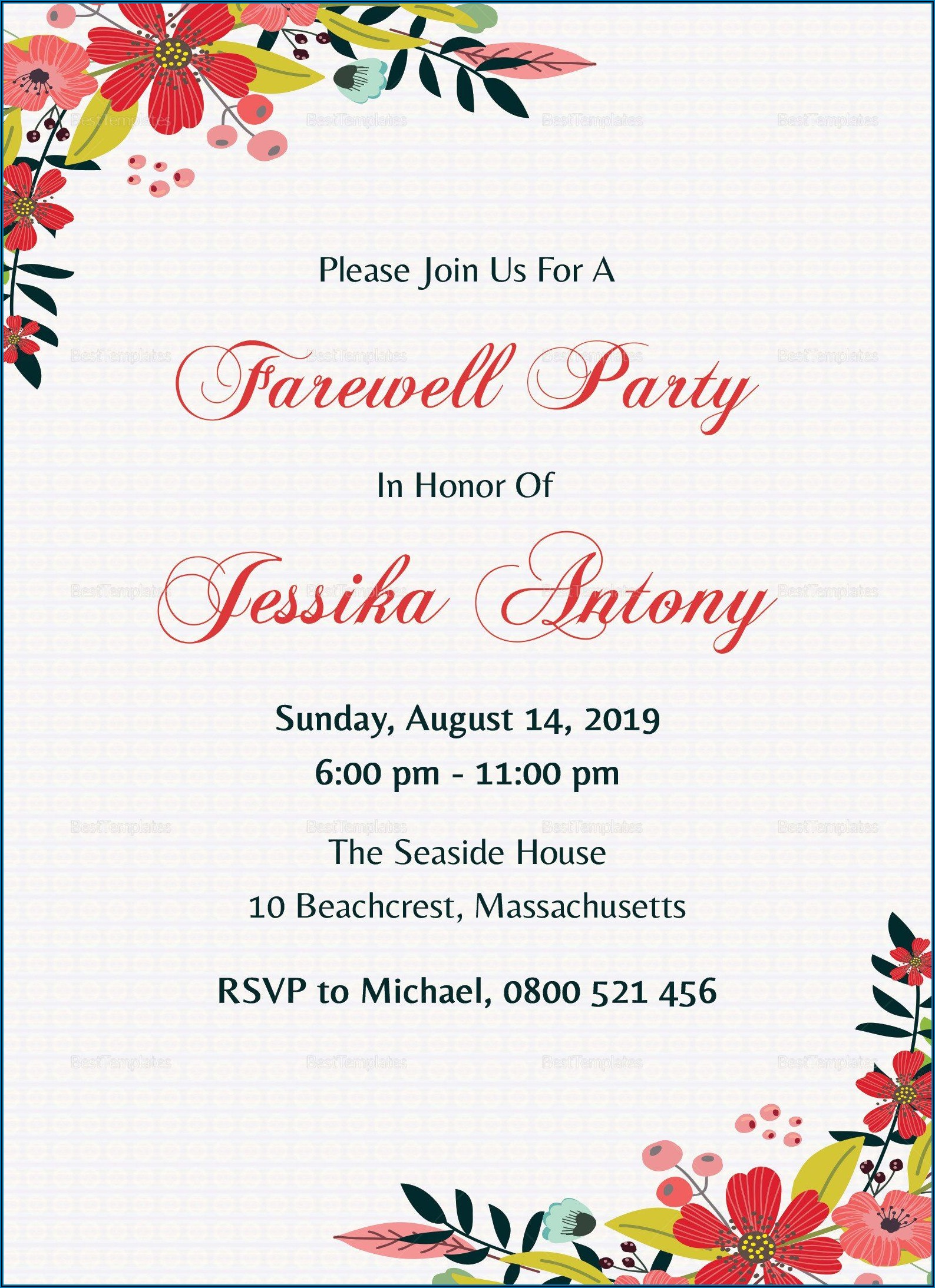 Goodbye Party Invitation Template Free
