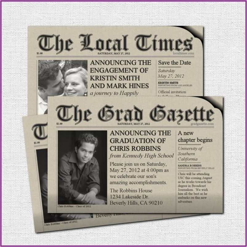 Graduation Newspaper Announcement Examples