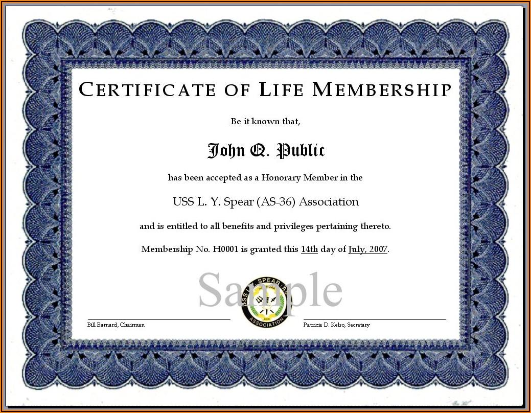 Honorary Team Member Certificate Template