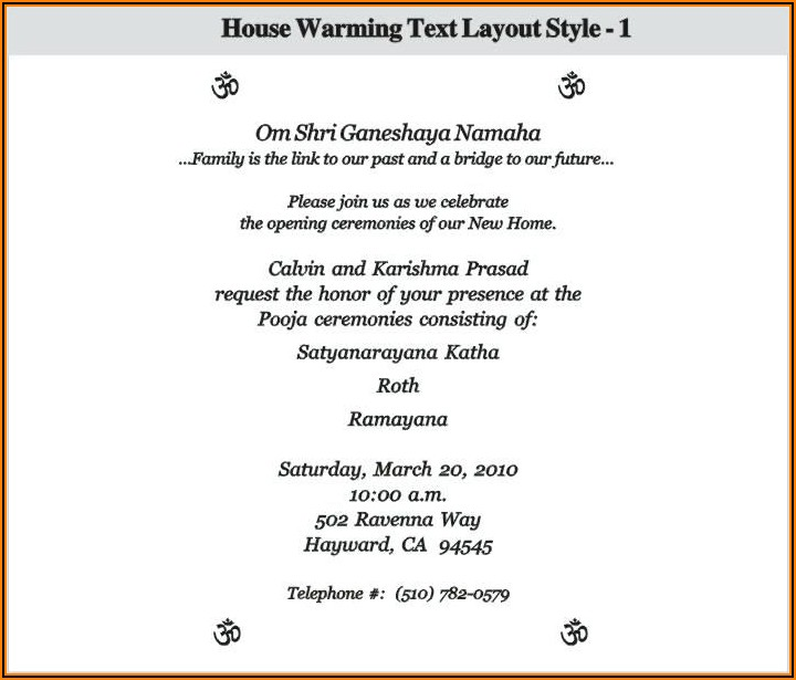 House Warming Ceremony Invitation Message In Telugu