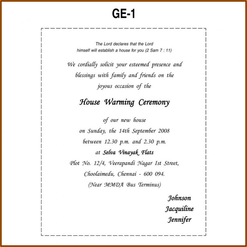 House Warming Ceremony Invitation Wordings In English