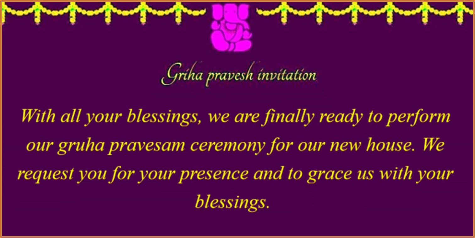 Indian House Warming Ceremony Invitation Message