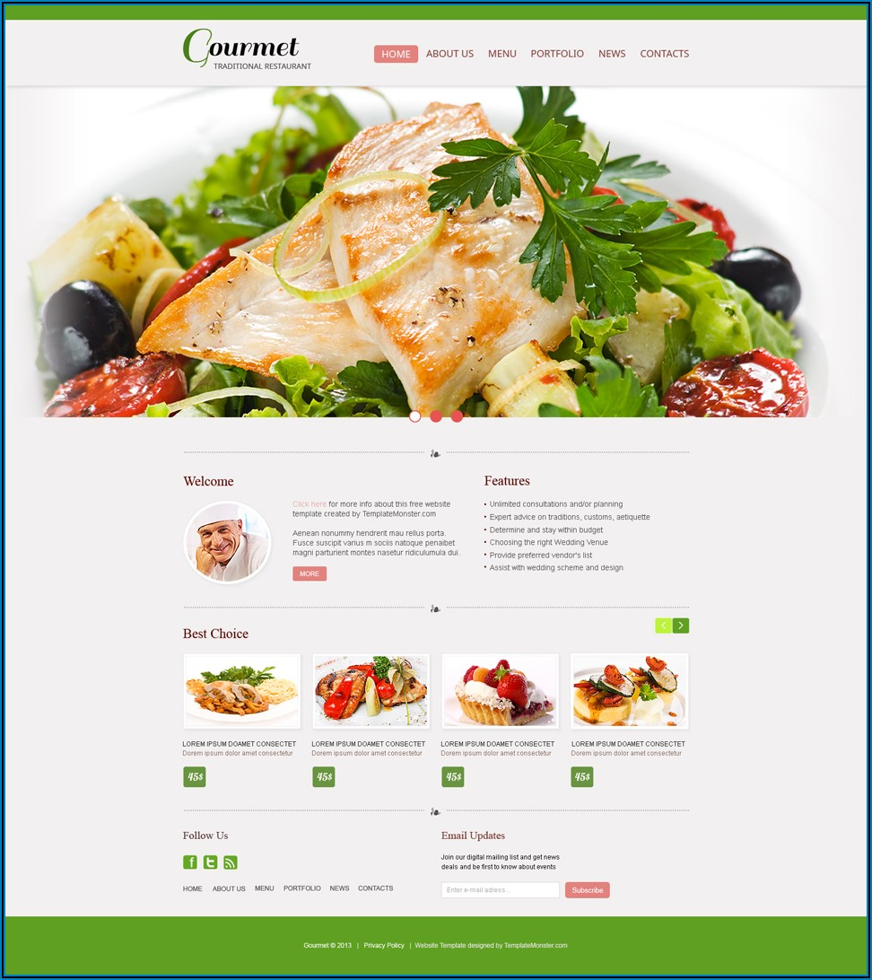 Indian Restaurant Website Templates Free