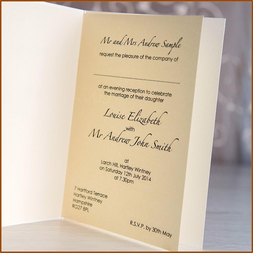 Informal Evening Wedding Invitation Wording Uk