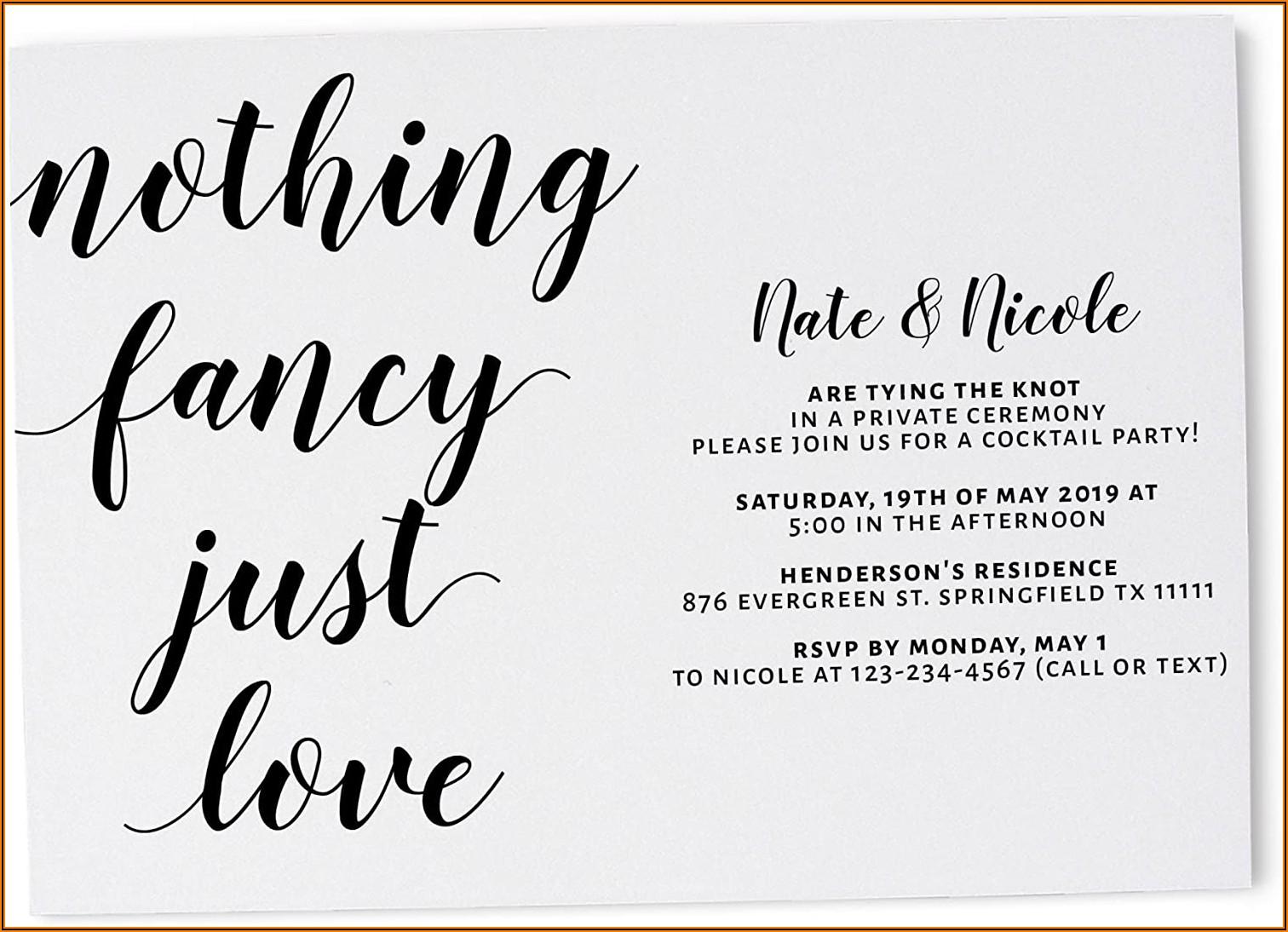 Informal Wedding Invitation Example