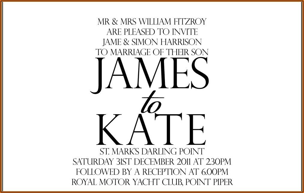 Informal Wedding Invitation Wording Couple Hosting