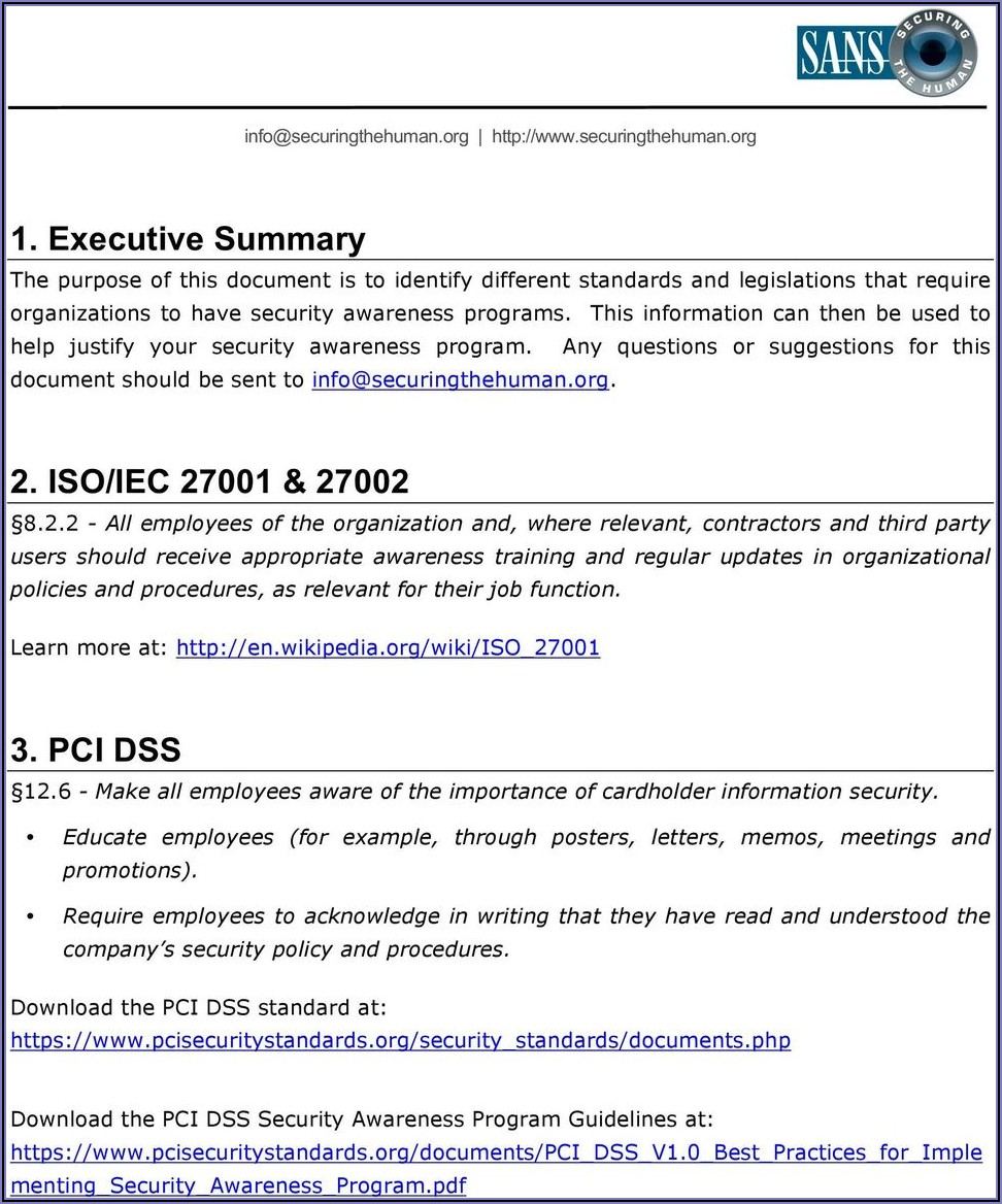 Information Security Awareness Program Example