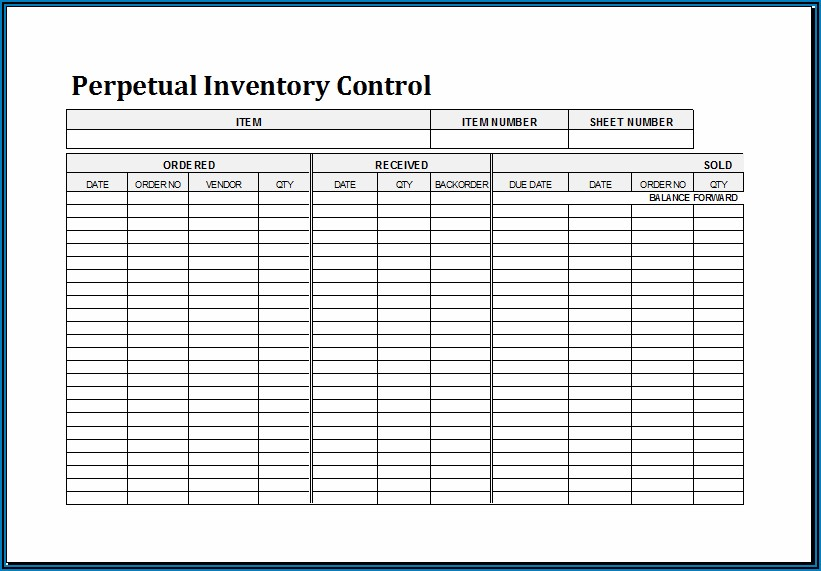 Inventory Control Format In Excel