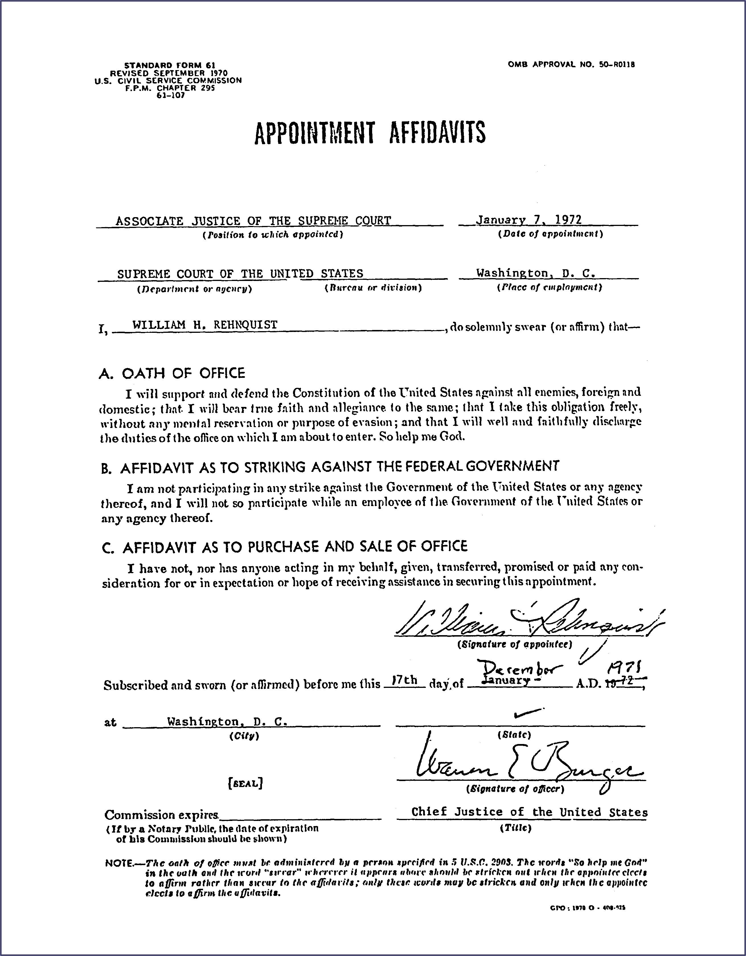 Judicial Affidavit Template