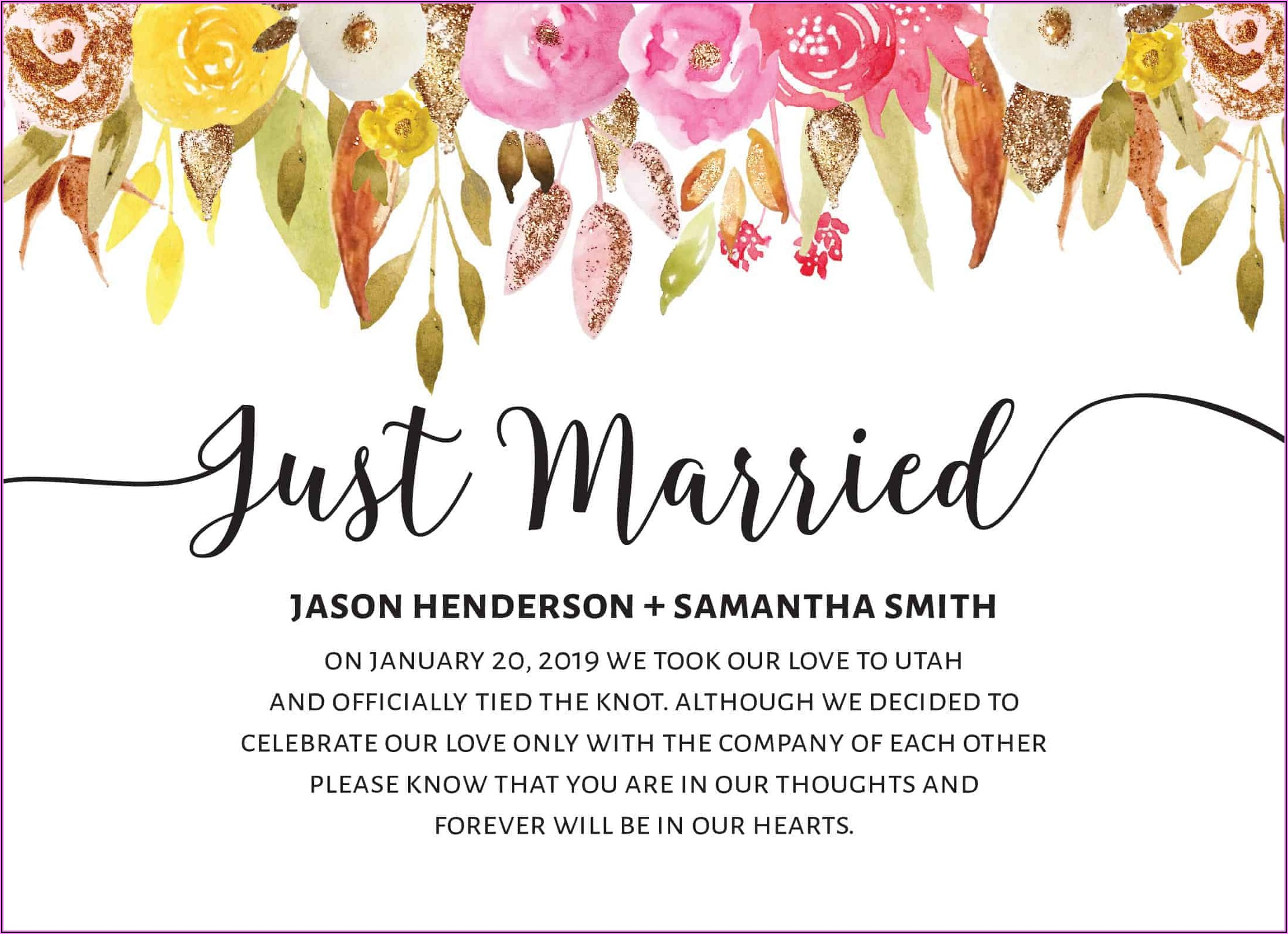Just Married Cards Announcements