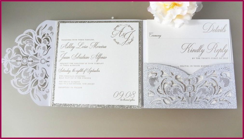 Lace Die Cut Wedding Invitations