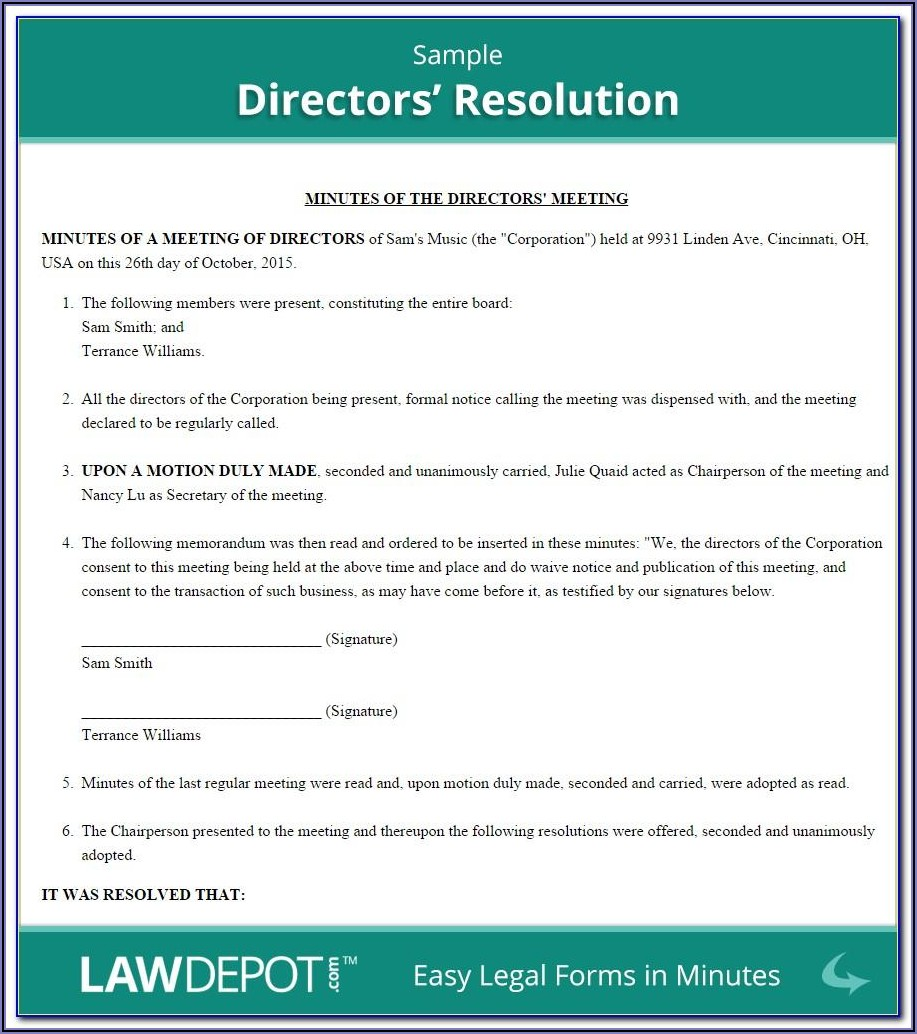 Llc Banking Resolution Template