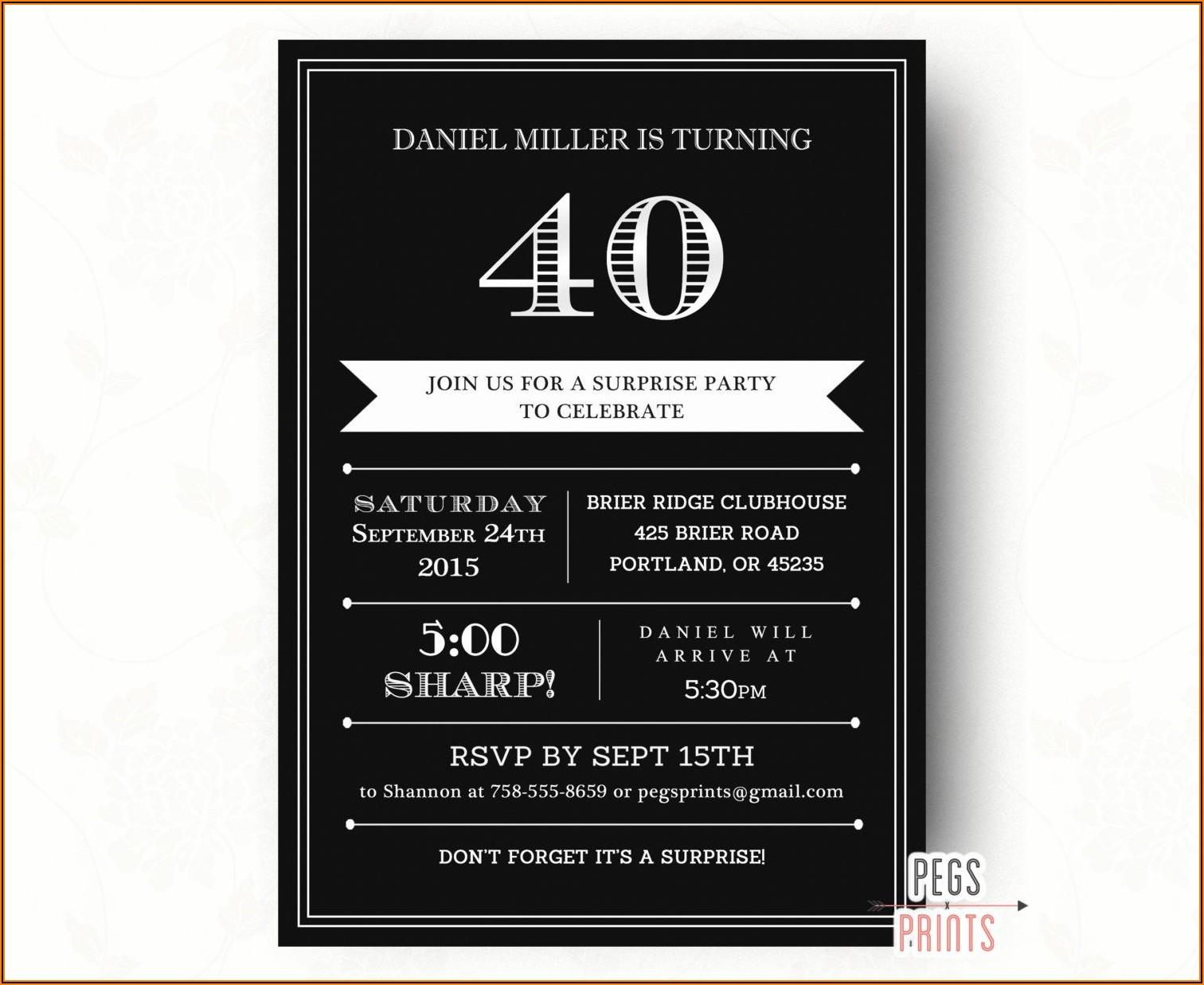 Male 40th Birthday Invitations Free