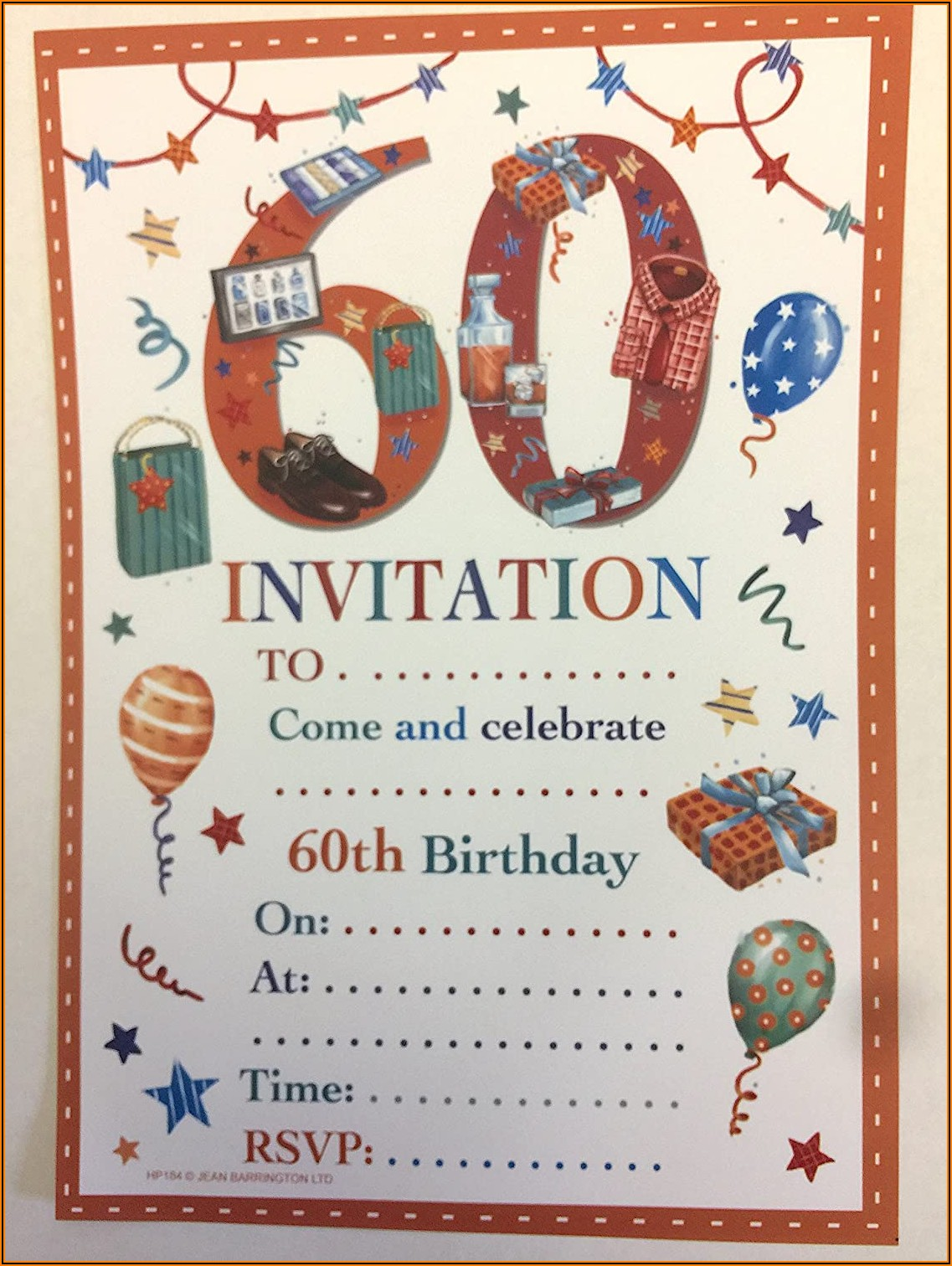 Male 60th Birthday Invitations