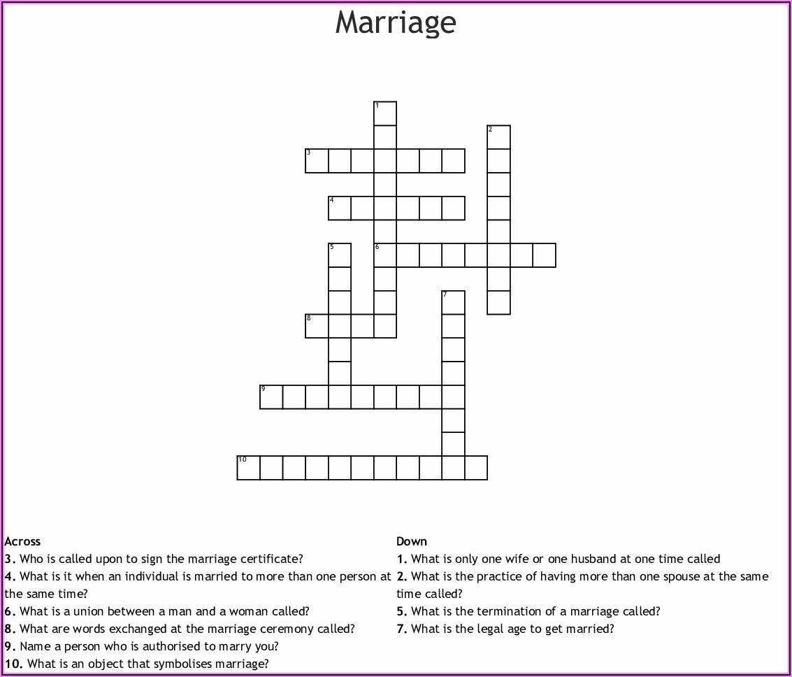 Marriage Announcement Crossword Clue