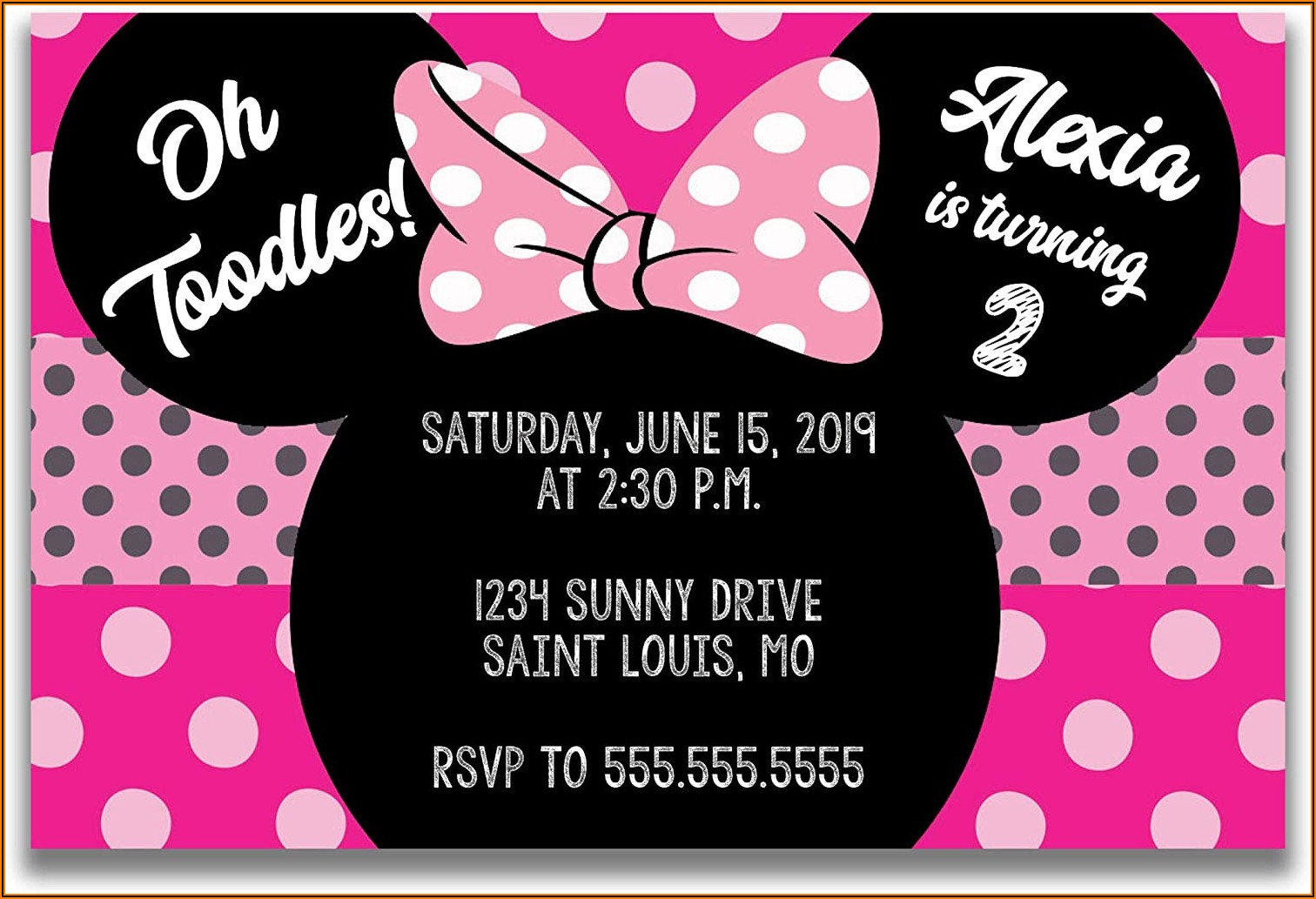 Minnie Mouse 2 Year Old Birthday Invitations
