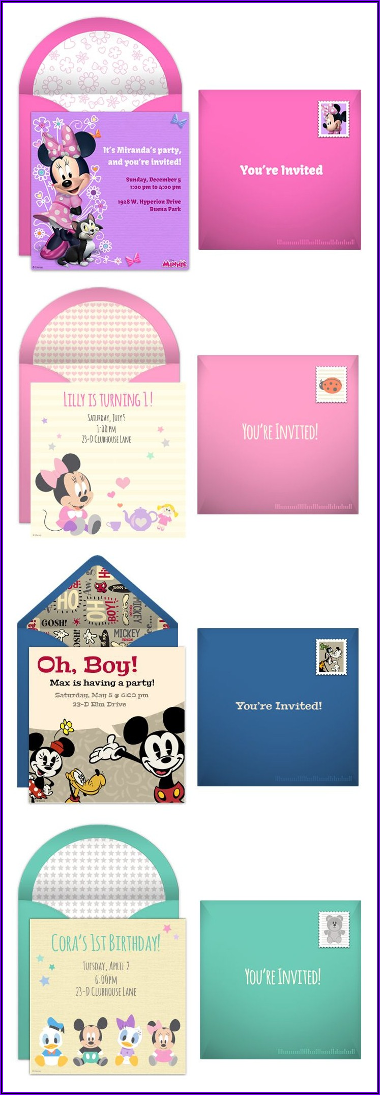 Minnie Mouse Party Invitations Online