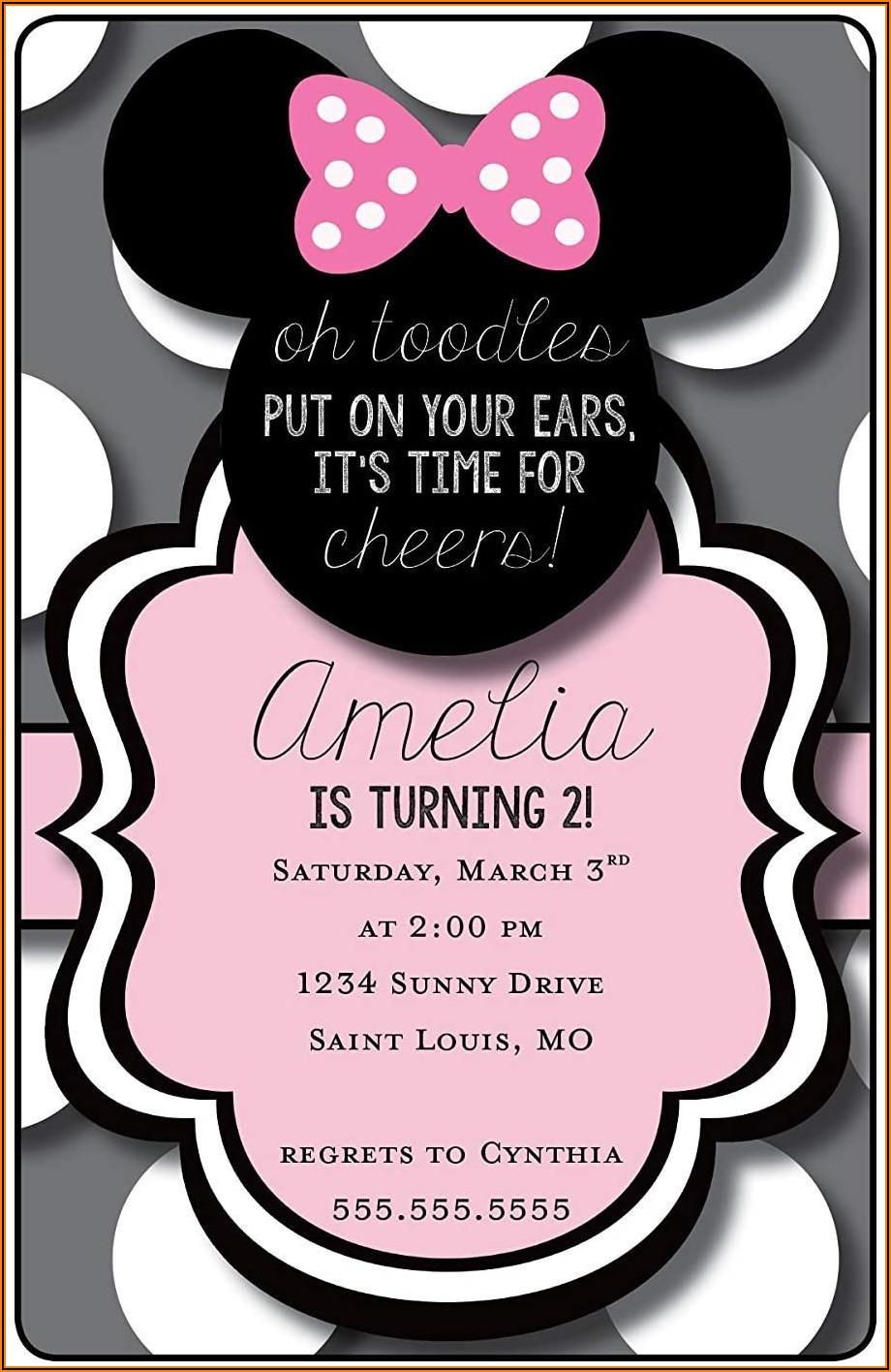 Minnie Mouse Second Birthday Invitations