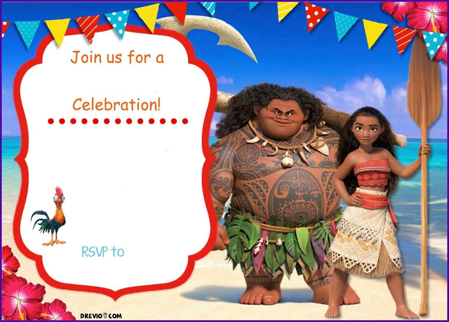 Moana Invitation Template Printable