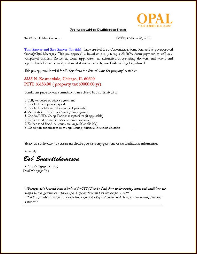 Mortgage Pre Approval Letter Example