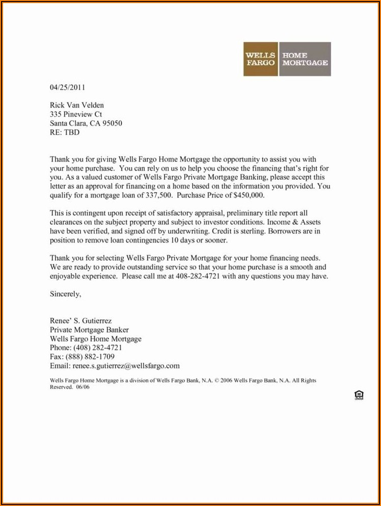 Mortgage Pre Qualification Letter Template
