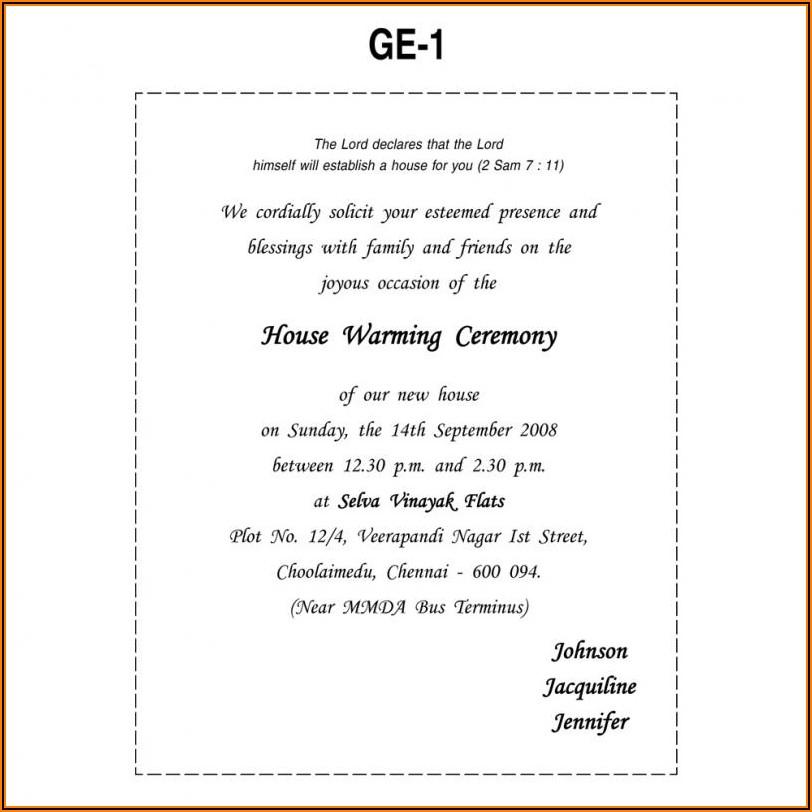 Muslim House Warming Ceremony Invitation Wordings In English
