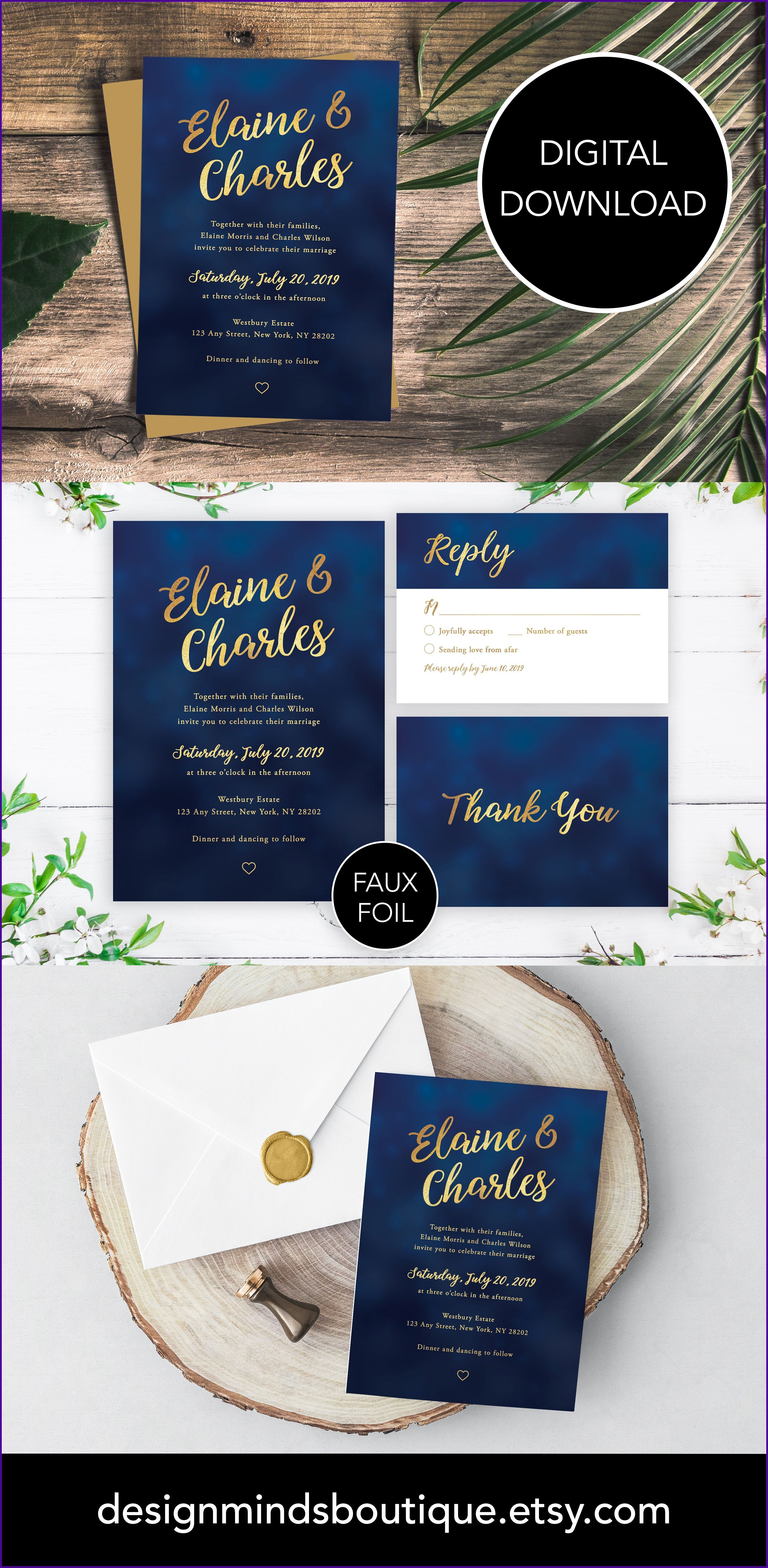 Navy And Gold Wedding Invitation Template