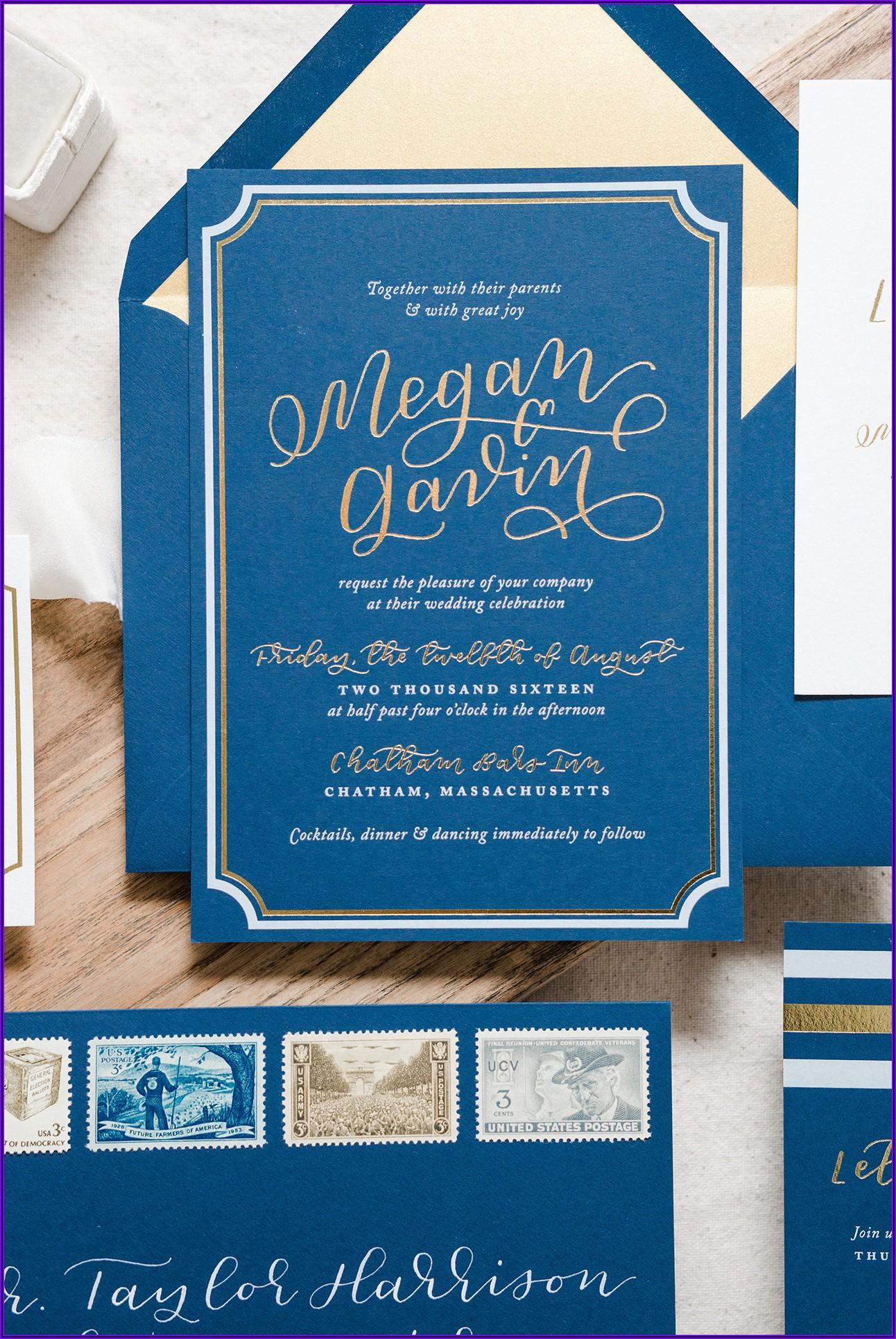 Navy Blue And Gold Wedding Invitation Templates