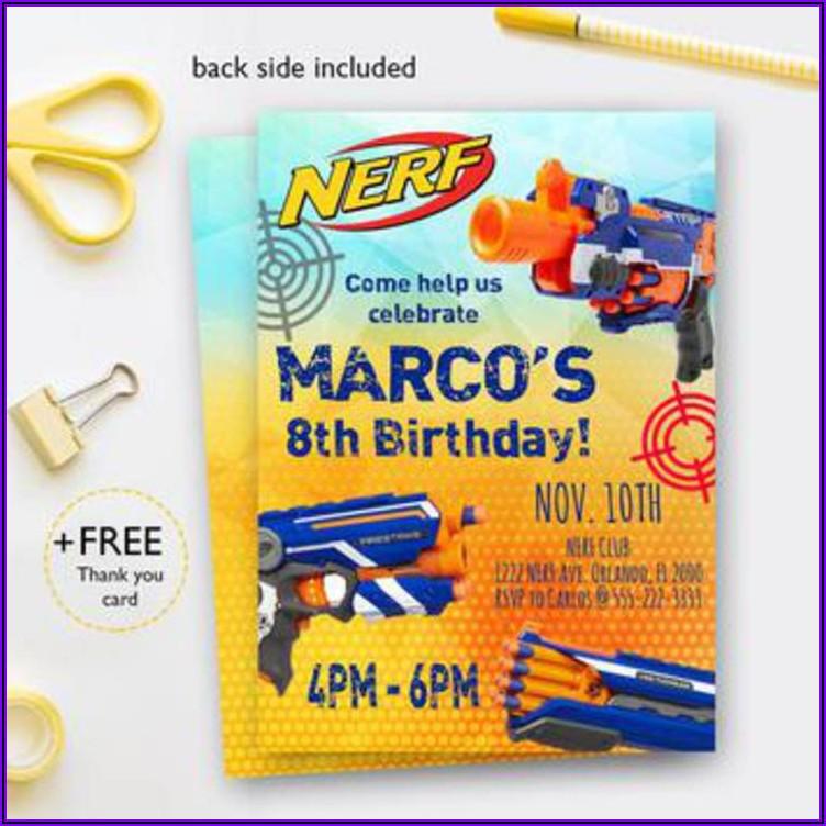 Nerf Gun Birthday Party Invitations Free Printable