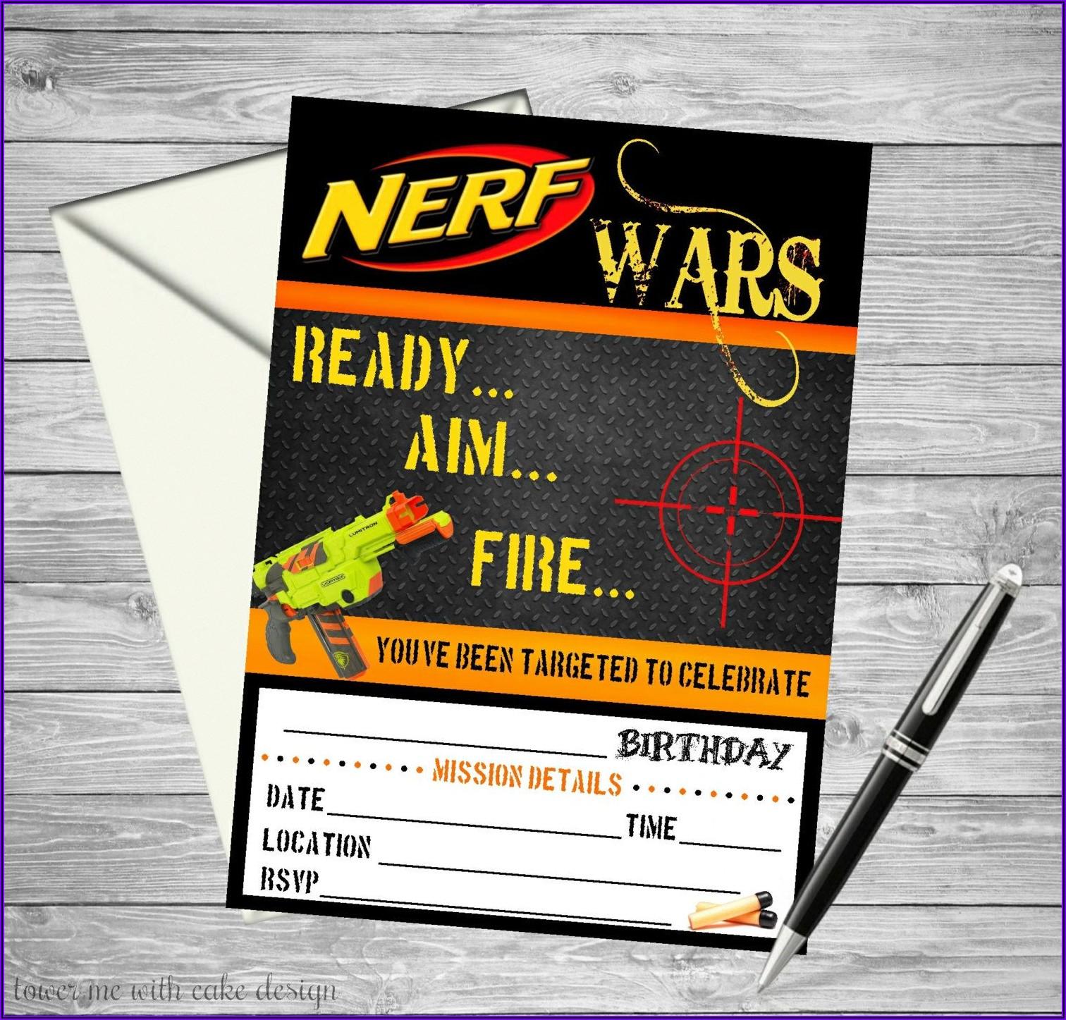 Nerf Gun Invitations Free