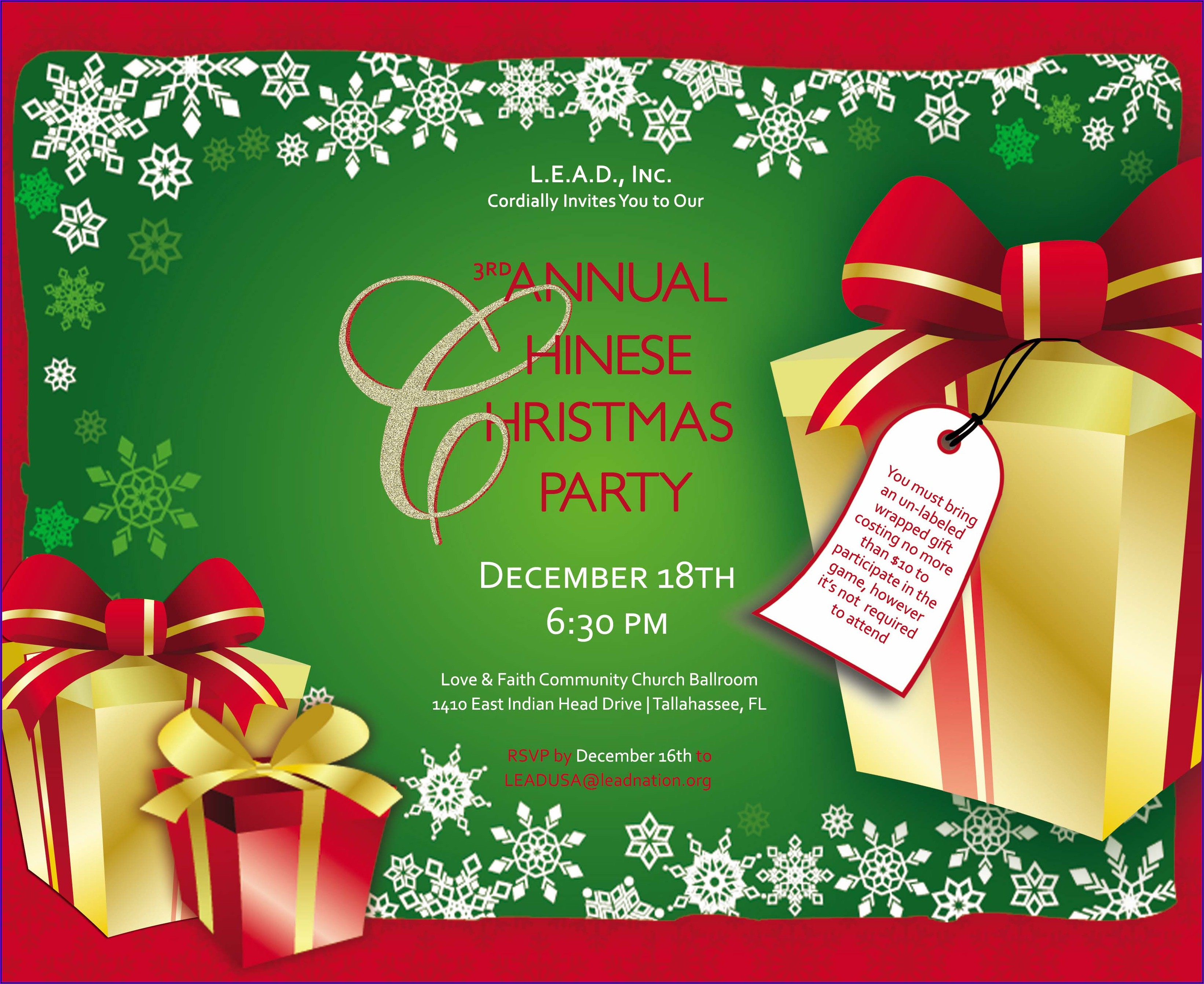 Office Holiday Luncheon Invitation Wording