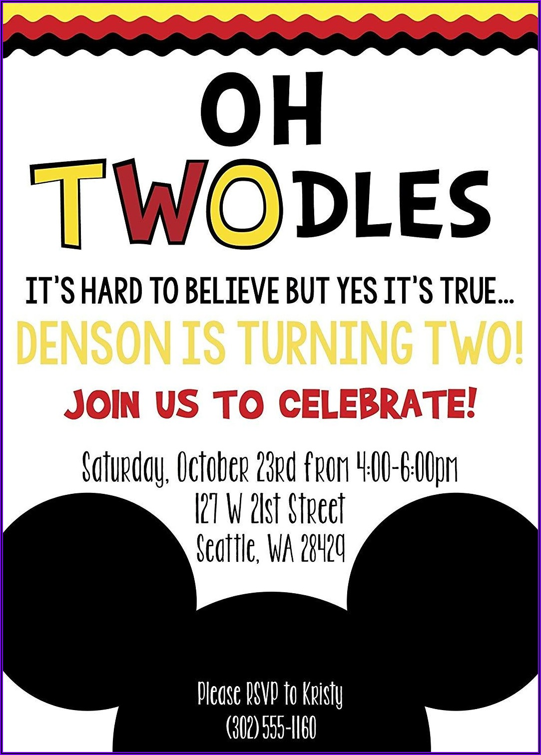 Oh Toodles Birthday Invitations