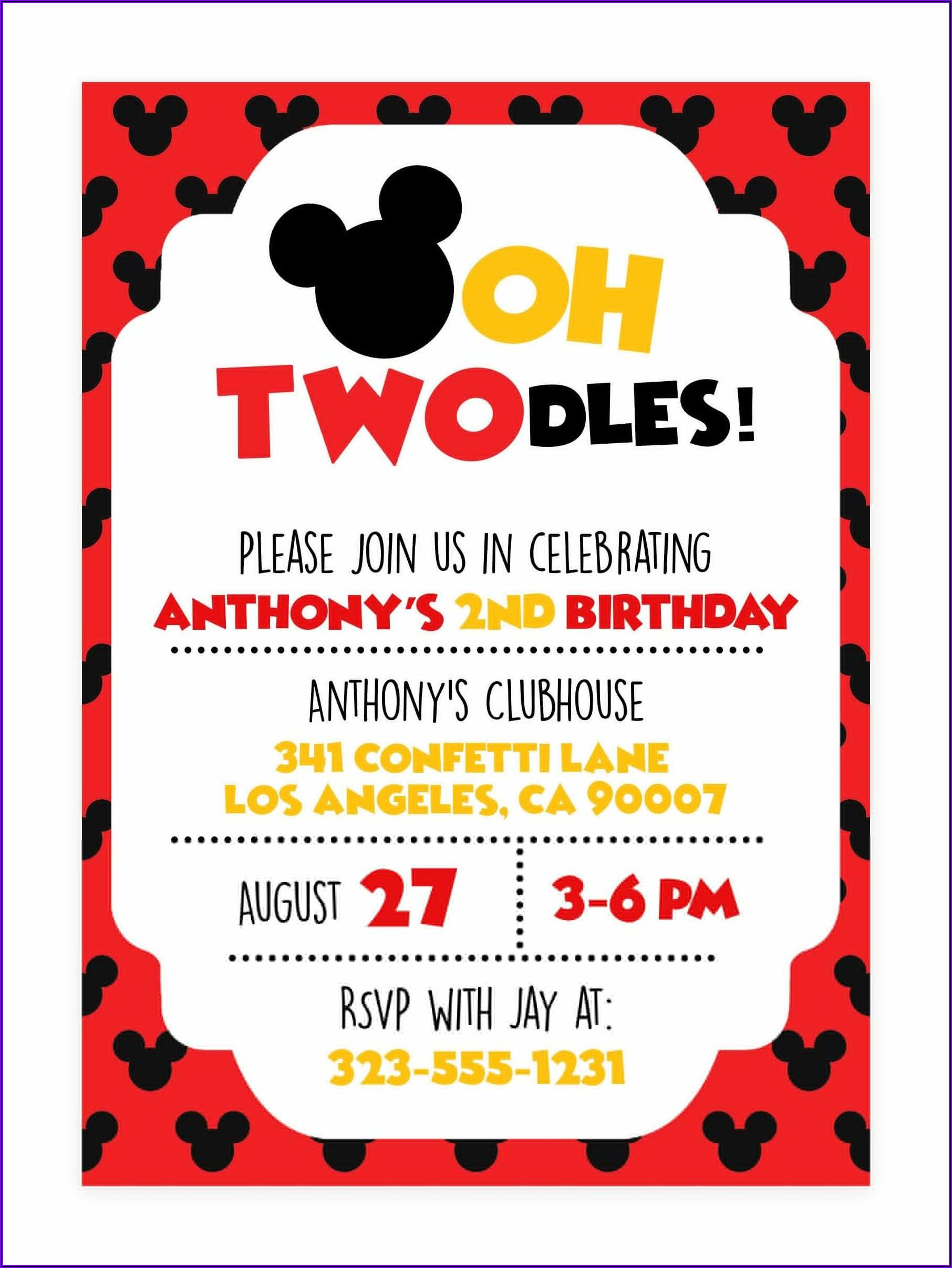 Oh Twodles Birthday Invitations Free