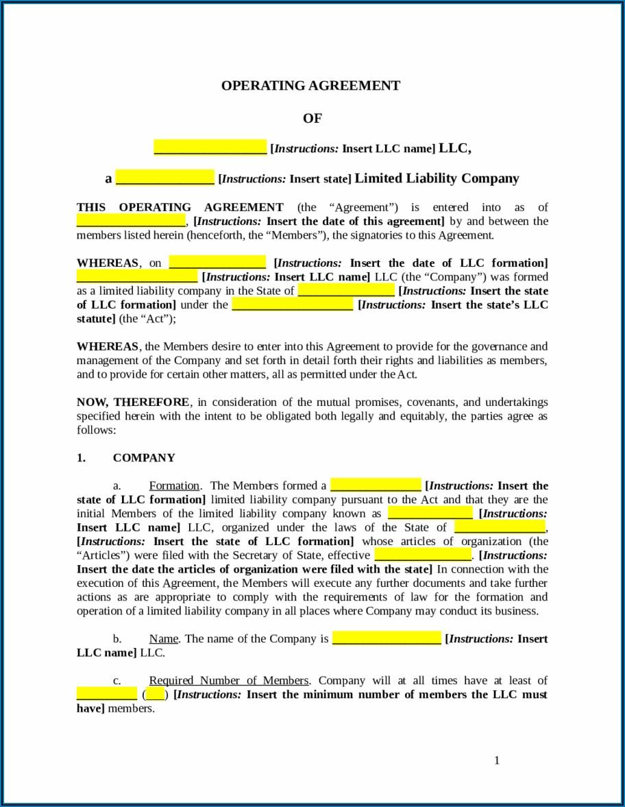 Operating Agreement Llc Template Free