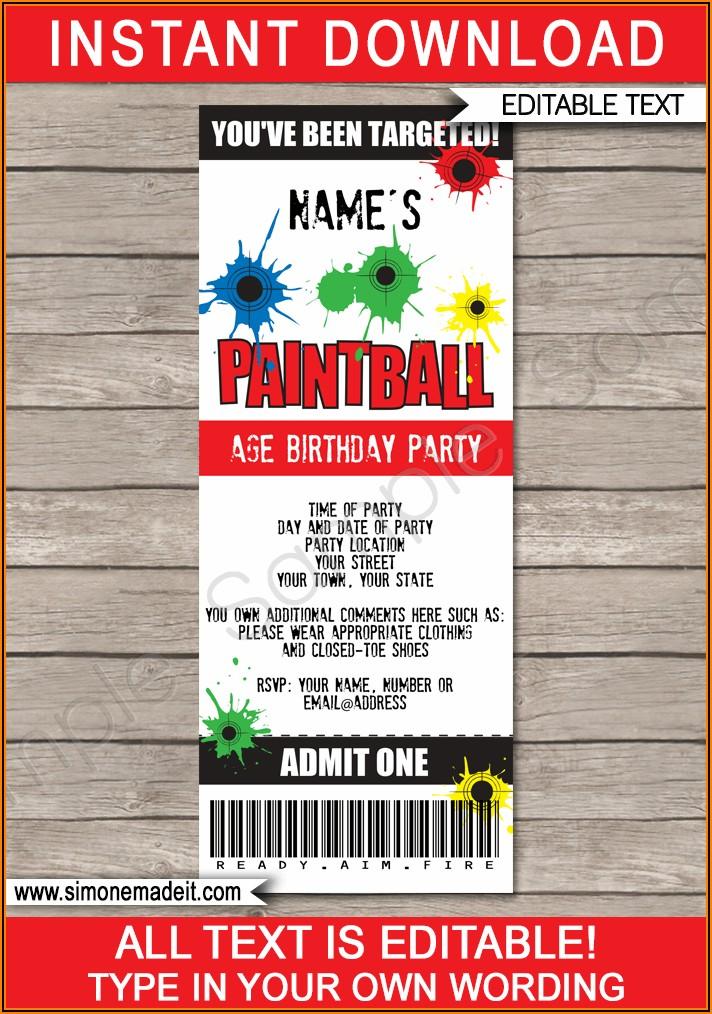 Paintball Invitation Template