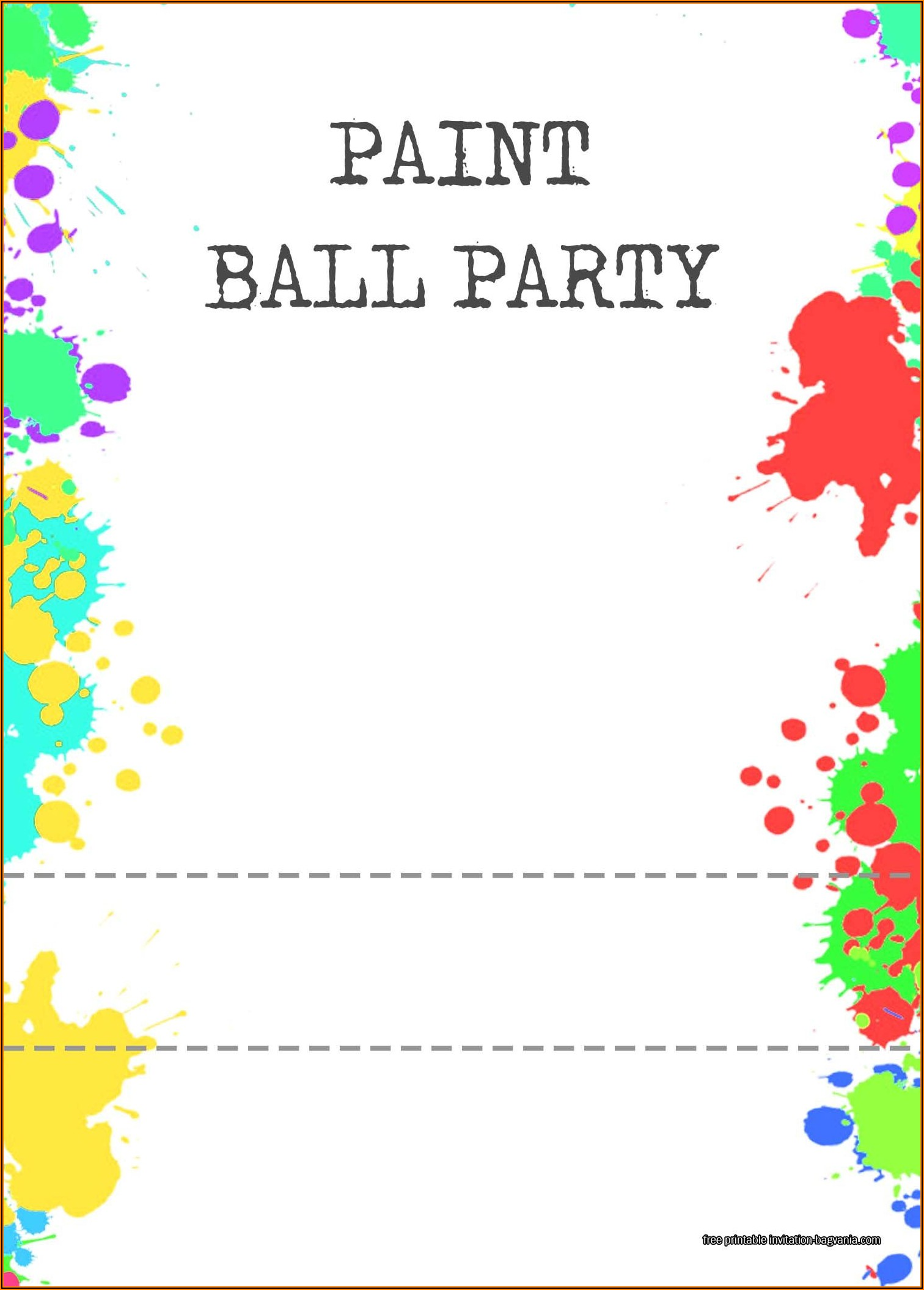Paintball Party Invitation Template