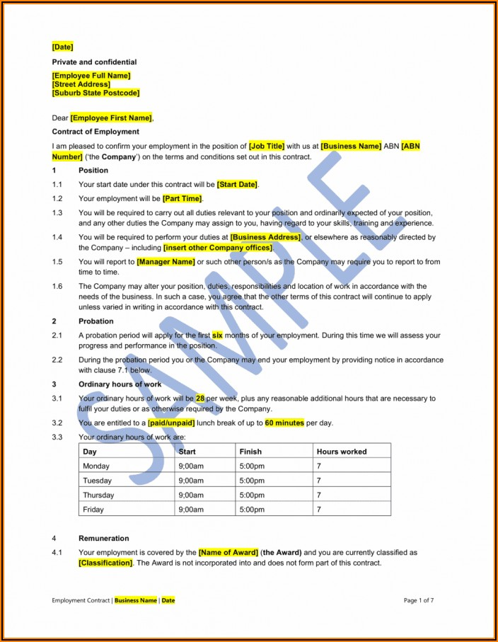 Part Time Employment Contract Template Free Uk