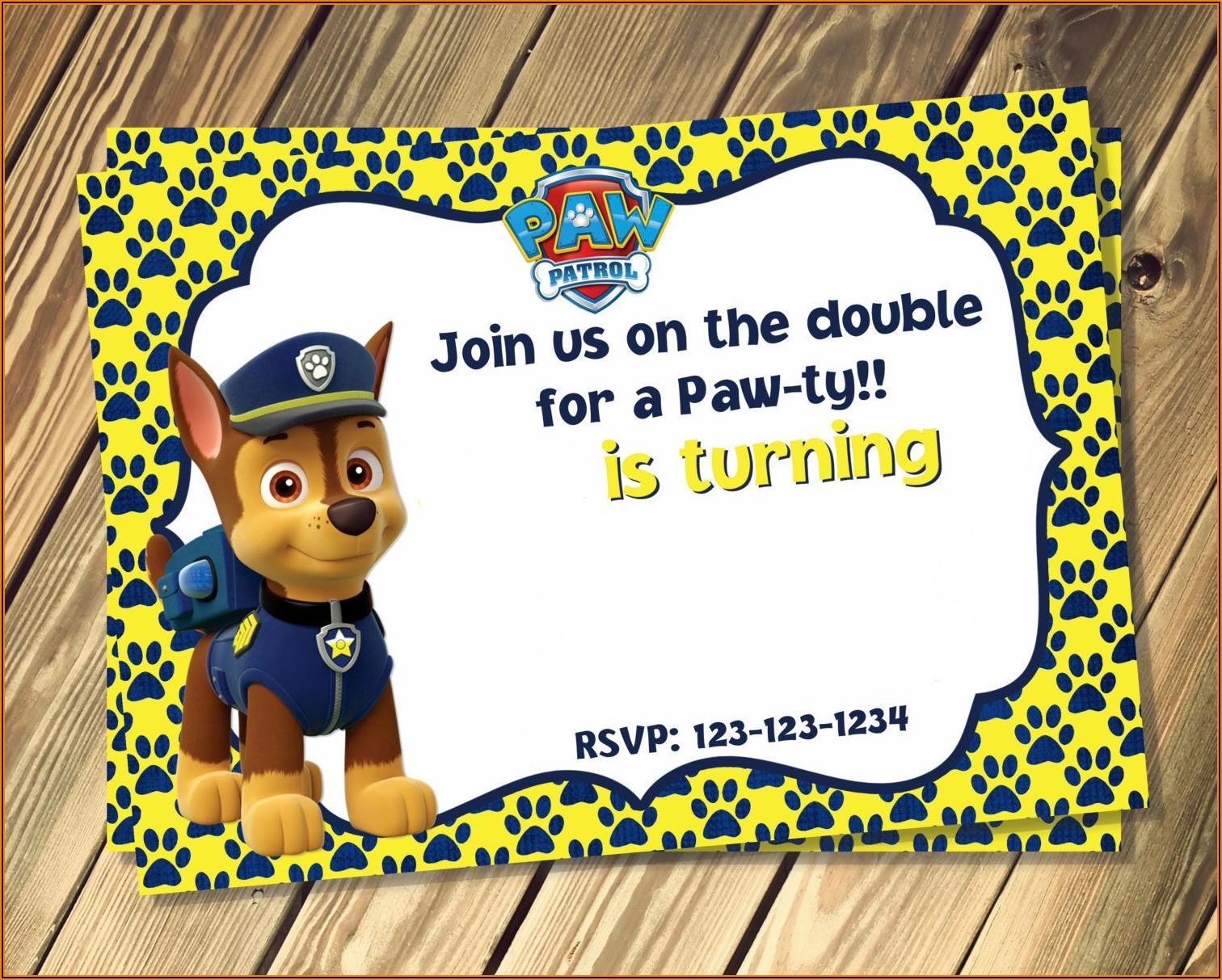 Paw Patrol Invitations Template Free