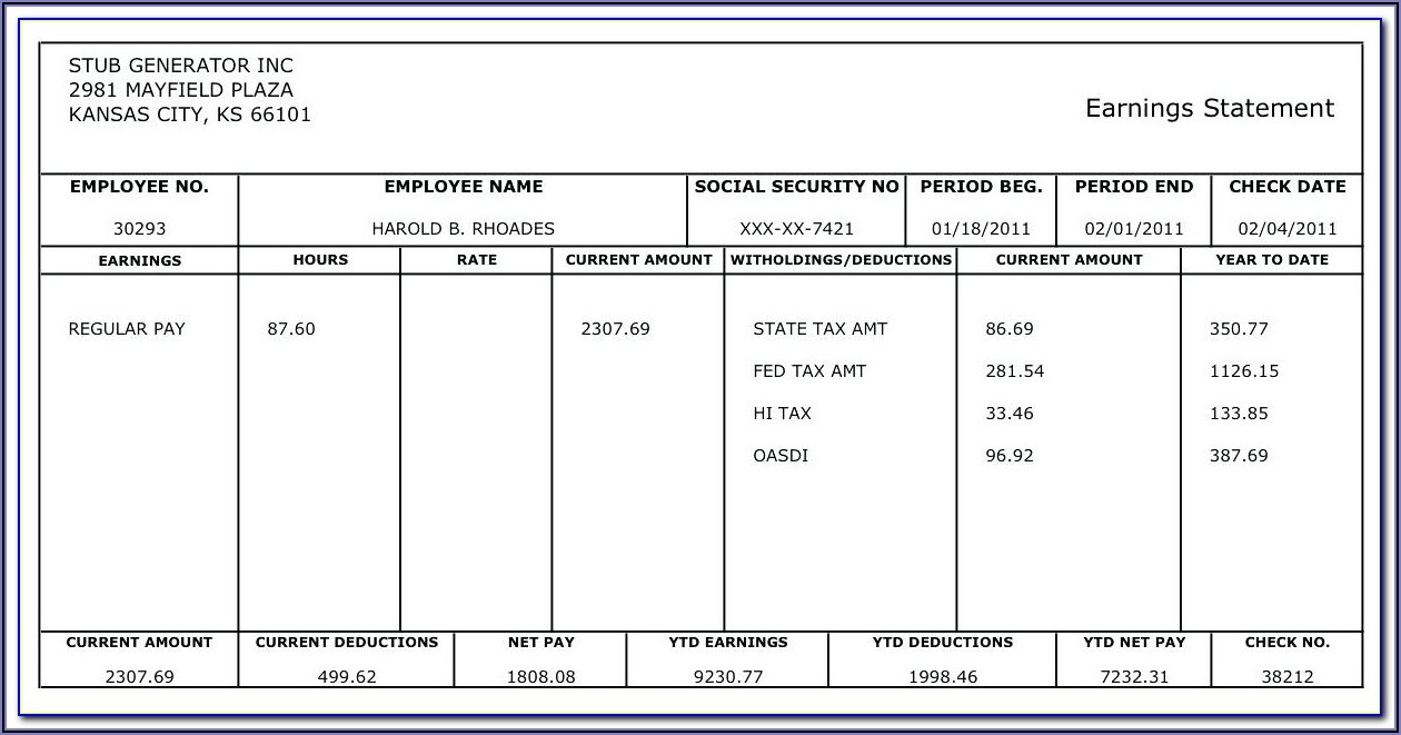 Payroll Calculator And Pay Stub Template