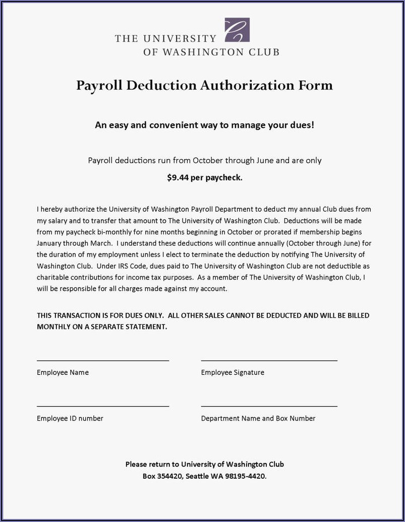Payroll Deduction Form Template