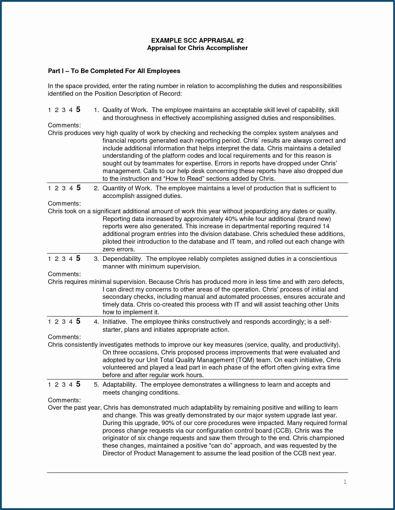Performance Appraisal Sample Wording For Employees